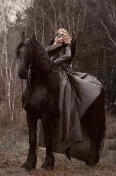 I like to think of her as a Warrior Woman. Witch on a Friesian horse! My fave horse. All The Pretty Horses, Beautiful Horses, Horse Love, Dark Horse, Horse Costumes, Ange Demon, Friesian Horse, Horse Photography, Spirit Animal