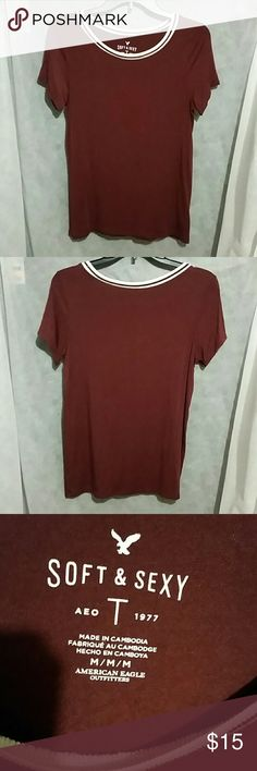 Brand new,  American eagle outfitters Size medium. Excellent condition, burgundy, and white American Eagle Outfitters Tops Tees - Short Sleeve