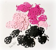 50  Black & Pink Lady Bug Confetti,  Cut outs - or CHOOSE YOUR COLORS - Set of 50 pcs