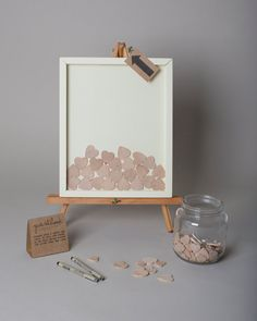 """Wedding Guest Book Alternative - Wooden Hearts Guestbook - 11x14"""" Cream Painted Pine Shadowbox Frame - Unique Drop Slot Guest Book"""