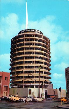 Capitol Records Building, 1750 Vine St. Hollywood  It is home to Capitol recording studios and the west coast operations of Capitol Records. The blinking lights atop the building spell out Hollywood in Morse code.
