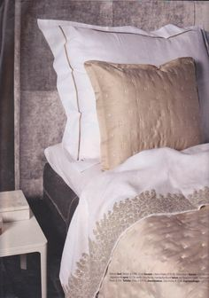 Hand embroidered linen sheet in Residence magazine
