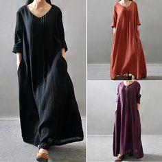 Vintage Casual Women Loose Long Sleeve Cotton Linen A Line Maxi Shirt Dress | eBay