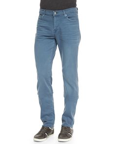 Luxe Performance: Slimmy Light Blue Jeans, Slate (Grey), Size: 36 - 7 For All Mankind