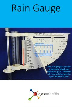 The rain gauges includes a glass vial which can measure up to of rain and a sliding pointer up to of rain.