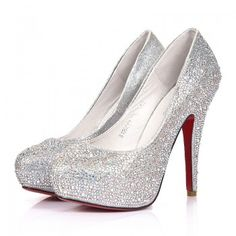 Silver Sequin High Heels