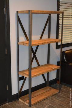 """Купить Стеллаж """"Loft"""" - коричневый, лофт, стеллаж, полки, Металлическая мебель, стиль лофт, loft"""