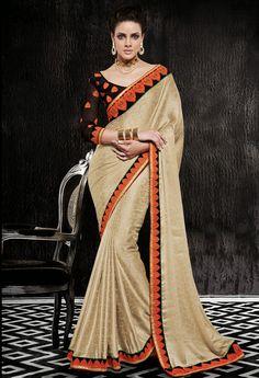 Glittering Golden Cream #Saree - Order online @ http://www.yourdesignerwear.com/glittering-golden-cream-saree-p-54060.html
