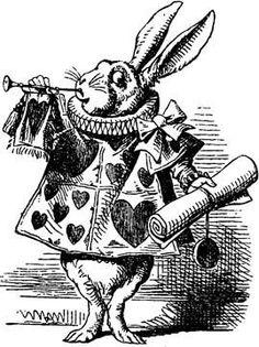White Rabbit Alice in Wonderland vintage illustration digital download black and white iron on transfer great for pillows, runners, altered art, scrapbook embellishments etc