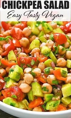 This Refreshing Chickpea Salad is just what you want on a hot day. Cool, flavorful, and with tons of juicy vegetables and fresh herbs, this salad makes an easy, healthy meal. Salad Recipes Healthy Vegetarian, Chickpea Salad Recipes, Healthy Recepies, Best Salad Recipes, Bean Recipes, Easy Healthy Recipes, Indian Food Recipes, Healthy Food, Buzzfeed Tasty