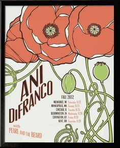 Ani DiFranco Fall Tour 2012 Screenprint Poster Poppies, via Etsy.