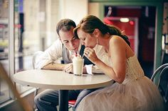 love this diner idea for engagement photos.