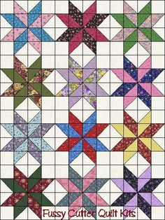 Scrappy Fabric 8 Sided Points Star Pre-Cut Easy Quilt Top Blocks Kit