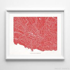 Lausanne, Switzerland Street Map Wall Art Poster - 70 Color Options - Prices from $9.95 - Click Photo for Details - #streetmap #map #homedecor #wallart #Lausanne #Switzerland