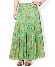 Lauren Ralph Lauren Plus Size Skirt, Tiered Paisley-Print Maxi - Plus Size Skirts - Plus Sizes - Macys