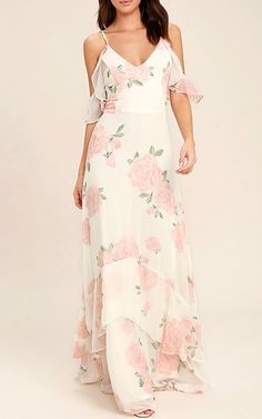 Take You There Ivory Floral Print Maxi Dress via @bestmaxidress