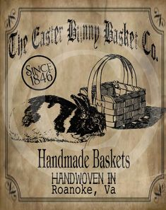 Vintage Labels, Vintage Signs, Vintage Stuff, Shabby, Primitive Labels, Primitive Signs, Easter Printables, Free Printables, Bunny Art