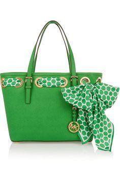 Michael Korsscarf Embellished Textured Leather Tote Kors Handbags