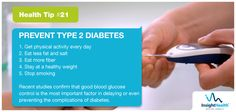 Today's Health Tip!  Did you check your blood glucose level? You may prevent type 2 diabetes with these tips.