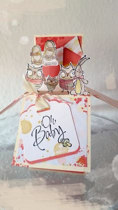 Pop-Up Box Card, Babykarte, baby card