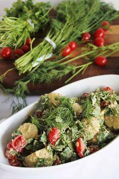 Raw Vegan Potato Salad with Cilantro and Dill