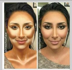 Model uses excess concealer and contour to show you where to put it.