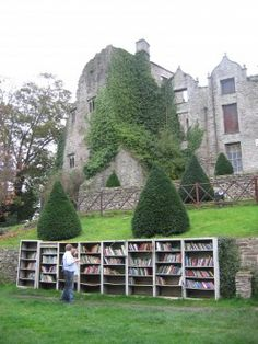 The ruined castle at Hay-on-Wye, Wales, Hay has the most book shops  in the UK