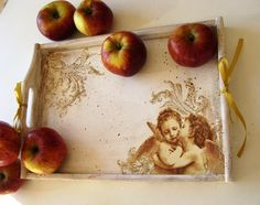 "Decoupaged wooden Tray ""Angels""."