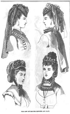 Late Victorian Era Ladies' Headwear and Hair - January 1870 Peterson's Magazine - I like the upper left