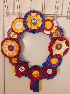 FOR SALE....Horse Show Ribbon Rosette Wreath by TheRepurposedRider, $29.95