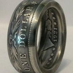 Coin Rings Made From Silver Morgan Dollars Tails Side Out in size Silver Dollar Coin, Silver Coins, Sterling Silver Rings, Silver Jewelry, Silver Bracelets, 925 Silver, Diamond Jewelry, Silver Earrings, Chrome Hearts Ring
