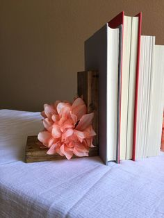 Flower Bookends Wood Nursery Pink Floral Book Shelf Little