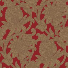 Viola - Arthouse Wallpapers - This Italian vinyl has a stunning Jacobean style floral trail, with raised stitch detail. Available in 6 colours – shown in the gold on red. Please request sample for true colour and texture.