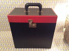 Vintage 1960s black and red record storage box 12 by VinylJunction