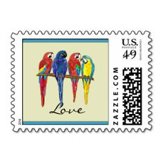 Tropical Parrots Postage Stamp