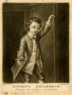 Youthful Amusement, 1760s. Portrait of Philip Mercier, the artist's son, as a boy, three-quarter length directed to right, smiling towards the viewer showing a spinning top turning on right palm, holding up the string in left hand, wearing an open coat over a light suit, with a ribbon round his throat, hair tied at the nape with a bow. British Museum 2010,7081.2211