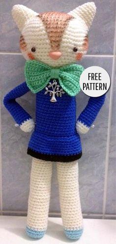 Amigurumi Cat with a Bow Tie Crochet Art, Crochet For Kids, Crochet Animals, Crochet Toys, Free Crochet, Knitting Stitches Basic, Knitting Patterns, Crochet Patterns, Crochet Ideas