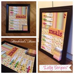 'Lolly Stripes' Meal Planner. $50 + postage or local pick up Springfield Lakes. Visit my FB page 'Handmaid's Haven' for more info or to place an order.