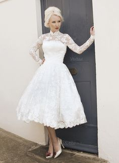 Wedding Dresses - $171.31 - A-Line/Princess High Neck Tea-Length Lace Wedding Dress (0025058922)