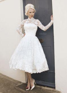 Wedding Dresses - $171.31 - A-Line/Princess High Neck Tea-Length Lace Wedding Dress (0025058922)