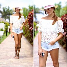 Look of the day: #marilynscloset #fashionblogger #bohochic #mango #sandals #boho #hippie #guess #roundsunglasses #panamahat http://marilynsclosetblog.blogspot.com.es/2015/08/lace-white-top.html