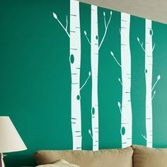 4-Piece Aspen Woods Wall Decal in White
