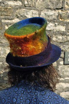 Felted Top Hat  'Rainbow'  Handmade felt topper  by Innerspiral, £182.00