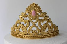 Girl Birthday, Birthday Parties, Birthday Cake, Gold Crown Cake Topper, Tiara Cake, 8 Inch Cake, Wilton, Bird Cakes, Princess Tiara