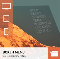 This widget brings a new dimension to your work with CSS transitions. The Bokeh menu has the ability to add upto six menu items to the navigation and delivers a high impact visual, text based menu not seen in Adobe Muse before.  This widget is perfect for single page layouts or sites with a small number of internal pages.
