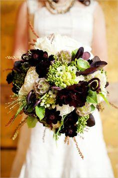 organic wedding bouquet, like the dark flowers Purple Wedding, Floral Wedding, Wedding Colors, Fall Wedding, Rustic Wedding, Our Wedding, Wedding Flowers, Dream Wedding, Lime Wedding
