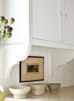 Bracket detail in cottage kitchen w/ travertine counters; Bill Litchfield - like the bracket detail when we update the cabinets