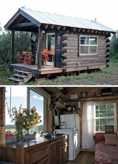 I love this! It includes a wood stove, queen size bed, bureau, counter with cabinets and drawers, a small cook stove and refrigerator – 140 sq. ft. space.