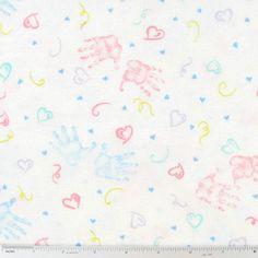 Pastel Handprints Flannel Fabric