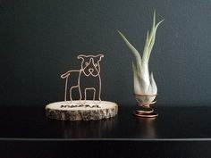 Wire sculpture of pitbull pit bull personalize custom wire